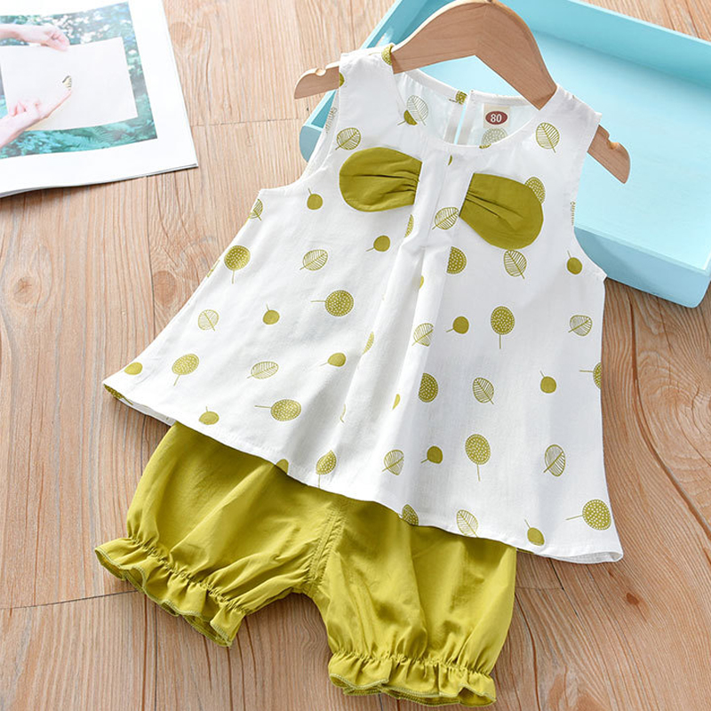Humor Bear Girls Clothing Set 2020 Korean Summer New Ice Cream Bow Top T-shirt+Pants Kids Suit Toddler Baby Children's Clothes 18