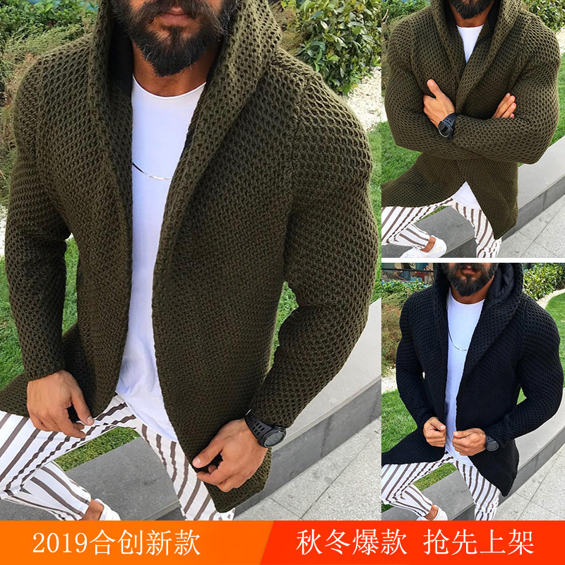 2019 Slim Fit Long Sleeve Cardigan Lian Men's Handsome Hooded Cardigan Warm Army Green Black Coat Cap Sweater Top Male#5