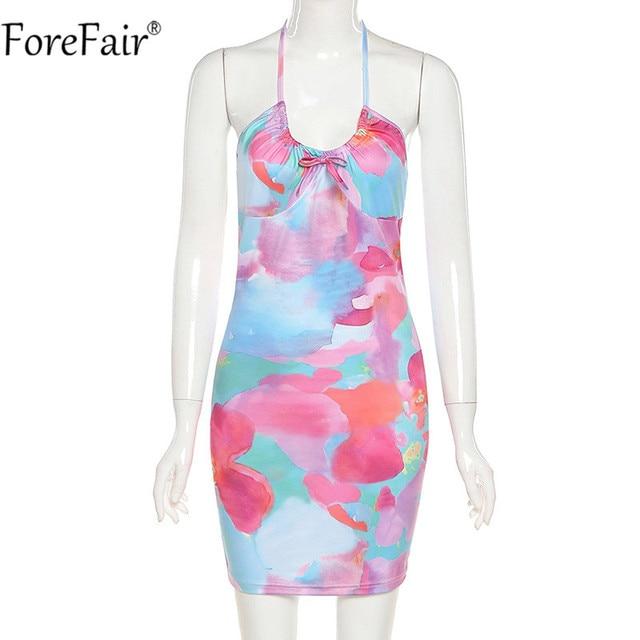 Forefair Tie Dye Backless Halter Neck Women Dress Bandage Sleeveless Off Shoulder Mini Beach Party Sexy Dresses 2021 Summer 3