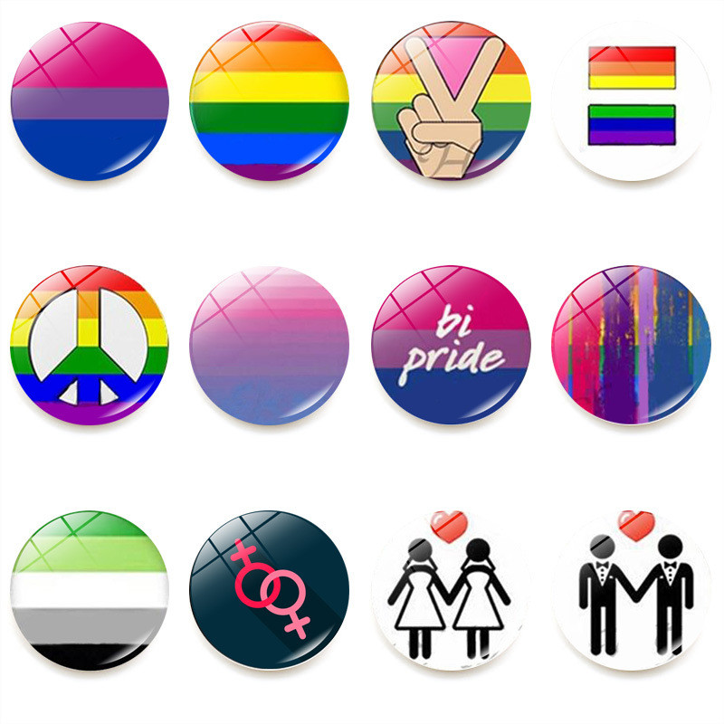 LGBT <font><b>Pride</b></font> Rainbow Flag Badge Round Icons Gay Lesbian <font><b>Bisexual</b></font> Transgender Pansexual Asexual Symbol Pin Rozet Brooch JL72 image