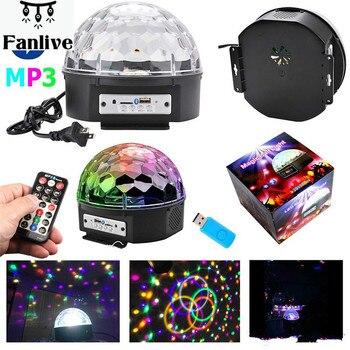18 piezas LED Disco luz Mp3 reproductor Bluetooth altavoz Disco bola láser fiesta luces AC110-240V 9 colores Control remoto DJ lámpara de la etapa