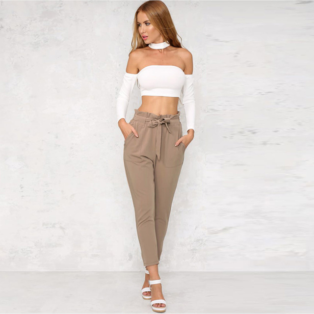 AliExpress EBay Hot Models Versatile Corset Capri Pants with Belt into Multi-color Currently Available