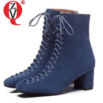 ZVQ leather blue booties cow suede ankle boots winter office gray Lace-up zipper 6cm high heels women's shoes drop shipping
