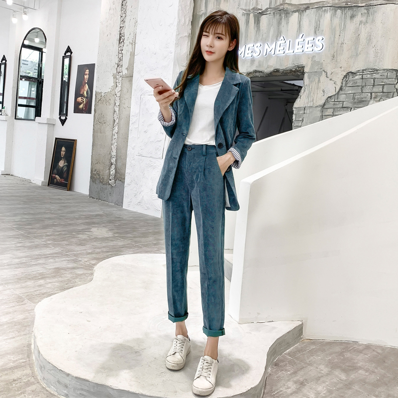 Autumn Winter Blazer Pants Suit Women Korean Chic Fashion Office Ladies Green Corduroy Casual High Waist Small Feet Pants Suit 42