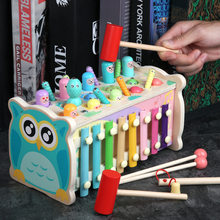 Montessori Play Whac-a-Mole Toy Kids Wooden Fishing Game Music Baby 13 Months Early Ducational Learning Toy Children's Gift