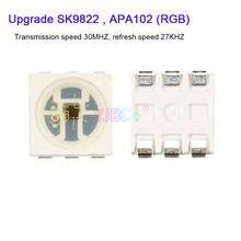 1000 pces atualizar sk9822 (apa102 semelhante) leds chips ic smd 5050 rgb para o módulo de tela dc5v 27 khz freqüência velocidade da lâmpada contas