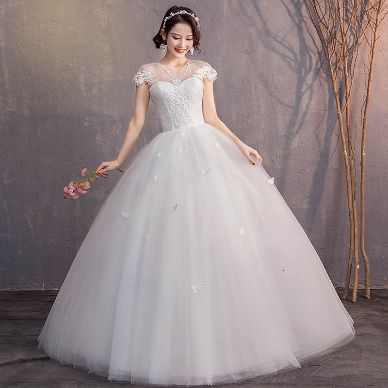 Illusion White Wedding Dresses Ball Gown Cap Sleeve O-neck Appliques Lace Up Elegant Wedding Gowns For Bride Robe De Mariee 2020