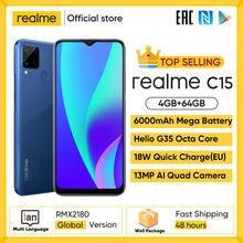 Realme C15 глобальная версия смартфон 4 Гб Оперативная память 64 Гб Встроенная память 6000 мА/ч, большая Батарея Quick Charge мобильный телефон 6,5 дюймов ...