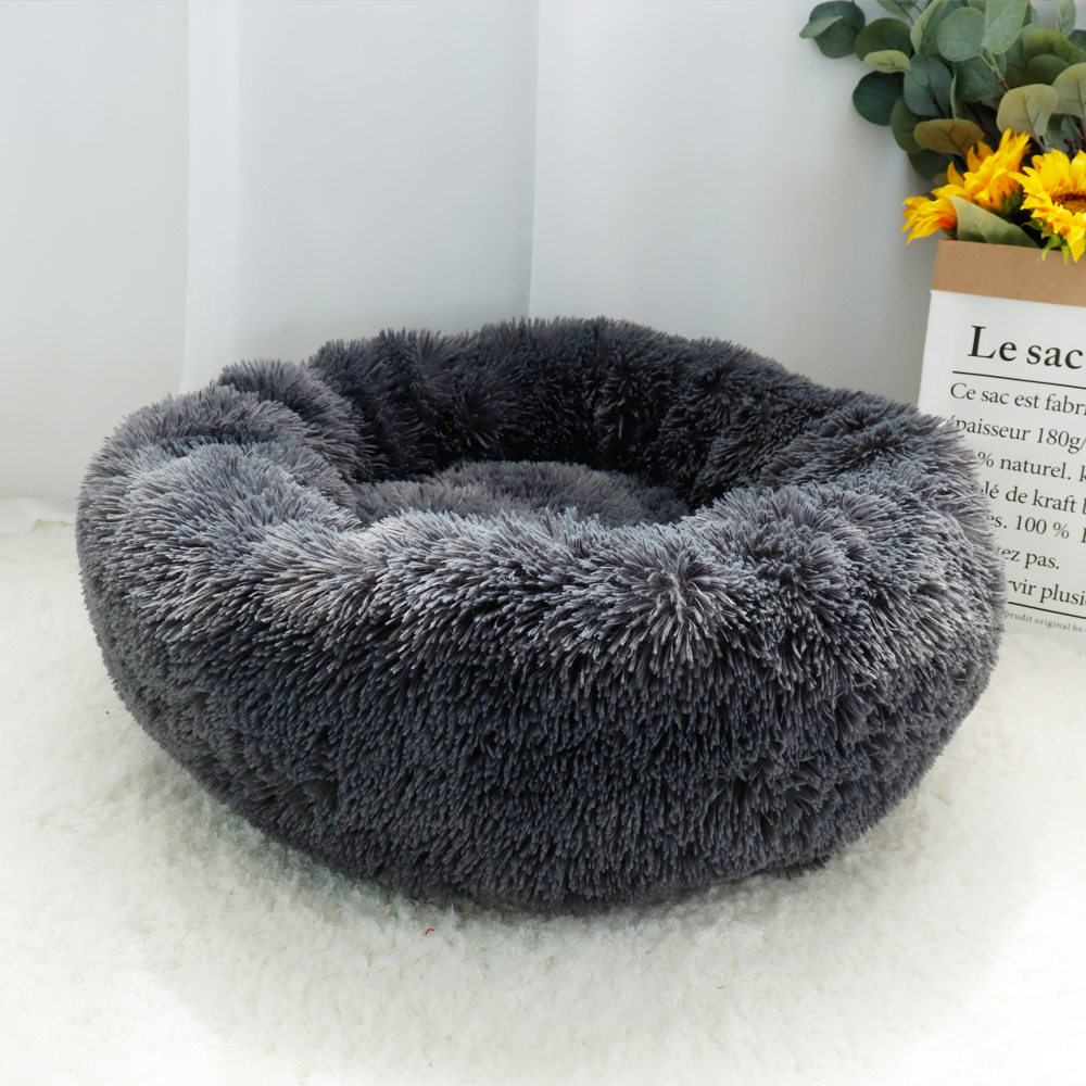Fluffy Calming Dog Bed Long Plush Donut Pet Bed Hondenmand Round Orthopedic Lounger Sleeping Bag Kennel Cat Puppy Sofa Bed House 13