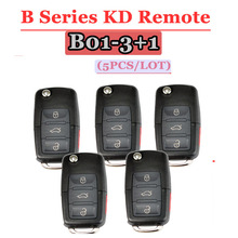 KEYDIY KD Key B01รีโมทคอนโทรล3 + 1ปุ่มB SeriesรีโมทคอนโทรลสำหรับVWสำหรับKD900(KD200) เครื่อง (5ชิ้น/ล็อต)