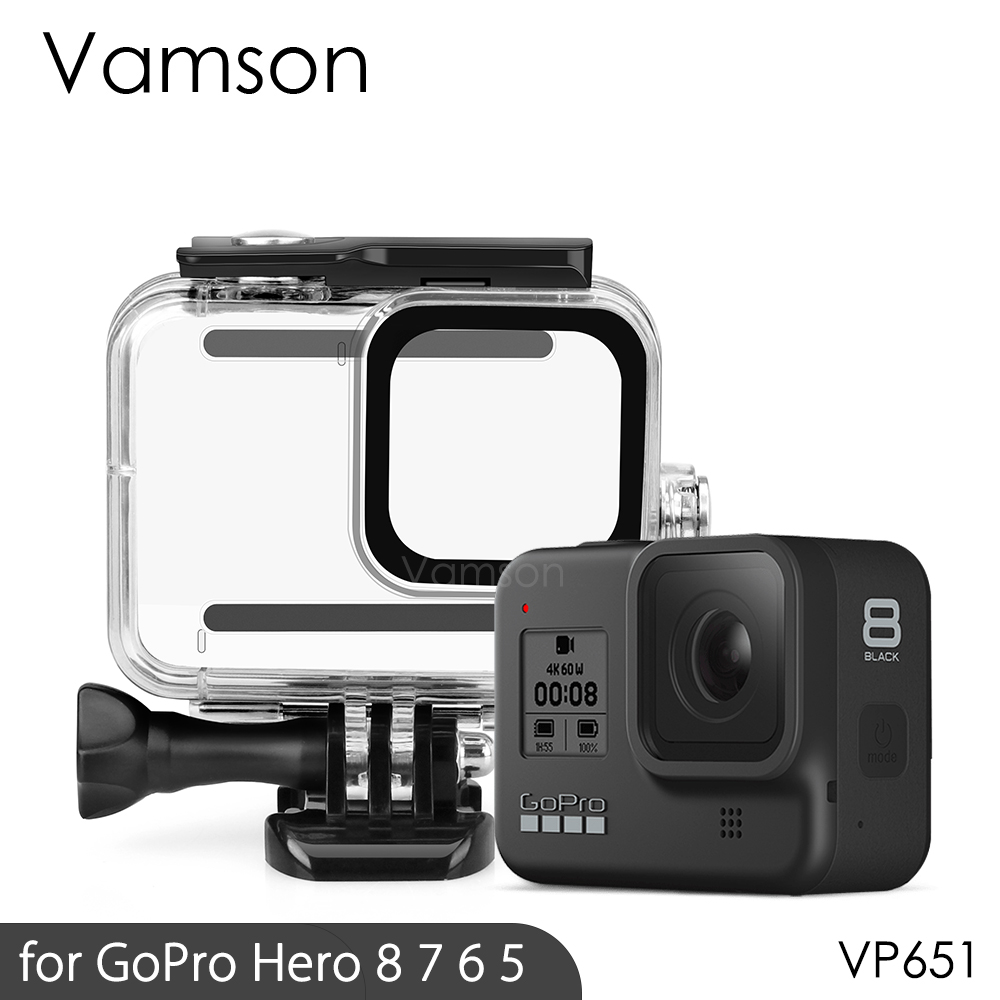 Vamson For Gopro Hero 8 7 6 5 Black 45M Underwater Waterproof Case Camera Diving Housing Mount For GoPro Accessory VP630