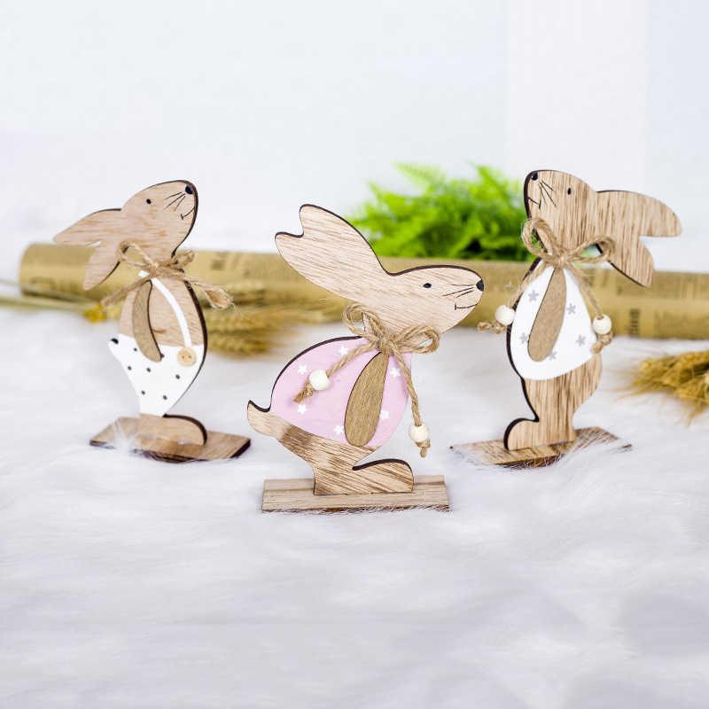 イースター装飾ウサギの木製装飾木製の装飾品ハッピーイースターパーティー好意のおもちゃ子供