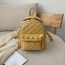 FANTASY PU Leather Rivet Backpack For Women Fashion Grid Pattern School Bag Multi Pocket Wild College Style Female Good Quality