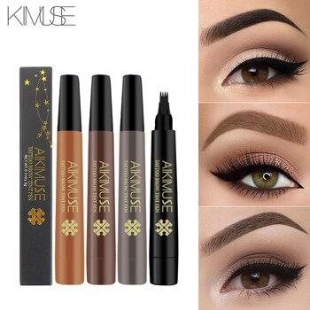 KIMUSE Brand Eyebrow Gel Fork Tip Liquid Pencil 4 Head Eyebrow Waterproof Tattoo Pen Long lasting Sketch Enhancer Dye Tint Pen