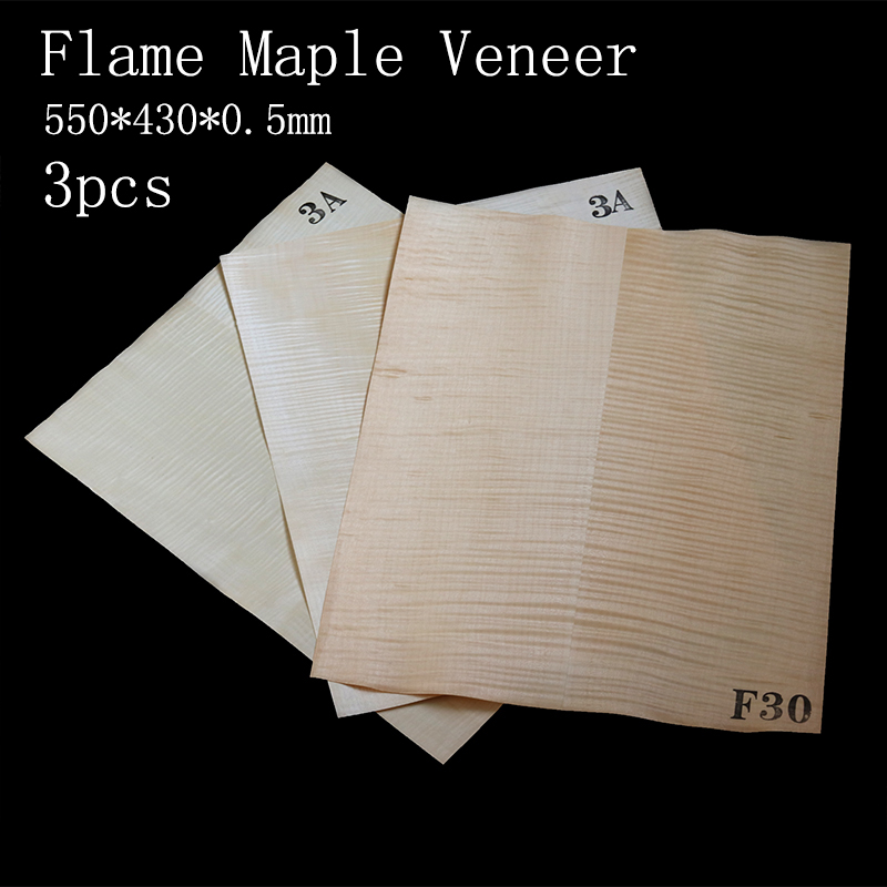 3 Pieces Flame Maple Electric Guitar Veneer Guitar Body Veneer Guitar Parts High Quality550*440*0.5mm