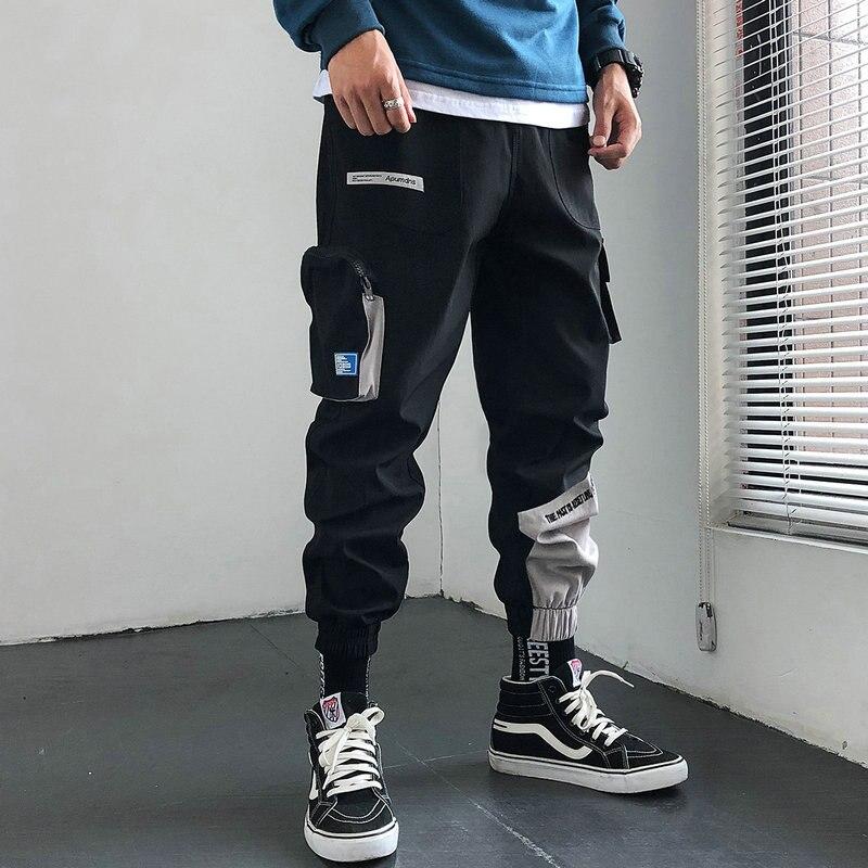 Autumn 2019 Streetwear Cotton Harem Joggers Men Casual Sweatpants Autumn New Ribbons Full Length Trousers Men