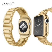 Luksusowy stalowy pasek ze stali nierdzewnej + etui na apple watch 44mm 40mm 42mm 38mm pasek metalowy bransoletka na iWatch seria 5 4 3 2 1 pasek na rękę tanie tanio jansin 20 cm STAINLESS STEEL Nowy z metkami For apple watch 38mm 42mm 40mm 44mm Metal buckle For apple watch series 1 series 2 series 3 series 4