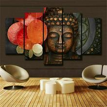 Будда медитация статуя Zen 5 панель холст стены искусства домашний Декор печать модульный плакат в рамке