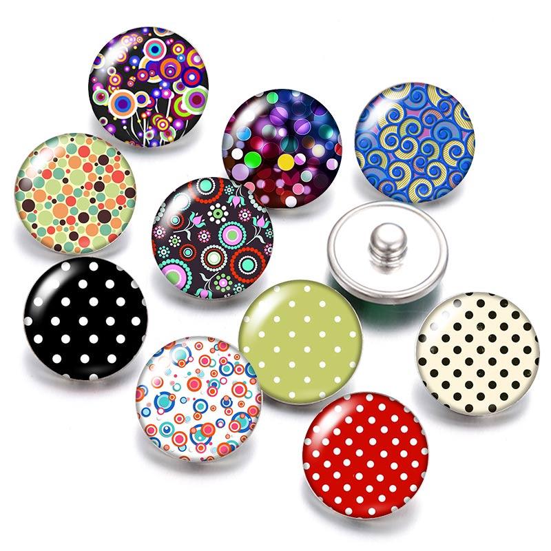 Точки линии и цветочным принтом, 18 мм кнопки 10 шт. круглые фото кабошоны разрисованные изделия из стекла стиль для кнопки ювелирные изделия