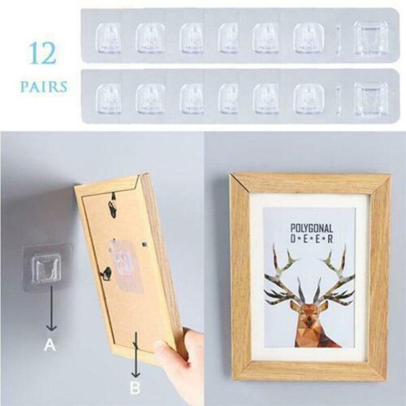 Double-sided Adhesive Wall Hooks Storage Hooks For Kitchen Bathroom Living Room Adhesive Wall Mounted Hooks Organizer Hooks