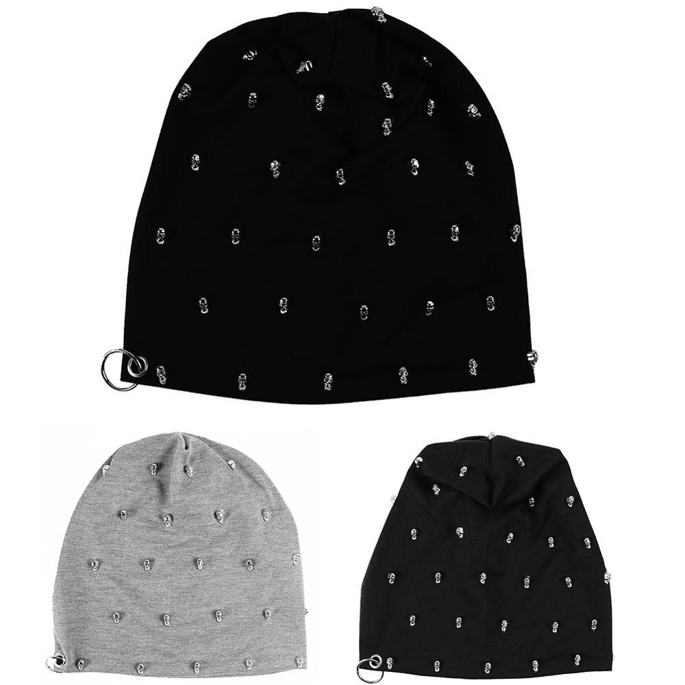 Winter Hip Hop Hedging Cap Women Skull Beanies Men Knitted Cotton Black Innocent Hat Warm Kids Boys Scarf Piercing Ring Cap