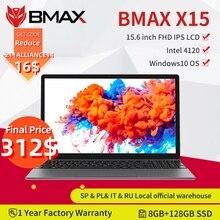 Ноутбук BMAX X15, 15,6 дюйма, процессор Intel 4120, Восьмиядерный процессор, windows10, ноутбук 1920*1080, 8 ГБ ОЗУ, 128 Гб ПЗУ, двойной Wi-Fi, HDMI, USB геймпад