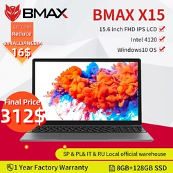 BMAX X15 15.6Inch laptop Intel 4120 CPU Qcta Core windows10 Notebook 1920*1080 8GB RAM 128GB ROM Dual Wifi HDMI USB GameLaptops