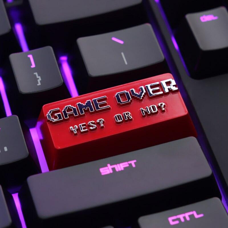 Keycap 1pcs GAME OVER zinc aluminum keycap mechanical keyboard keycap for mechanical keyboard ENTER key R4