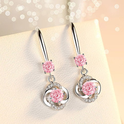 Luxury White Blue Pink Crystal 925 Sterling Silver Flower Earring For Women Silver Jewelry New 2020