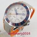 41 мм стерильный белый циферблат сапфировое стекло синяя вставка рамка ДАТА GMT механические Автоматические Мужские часы