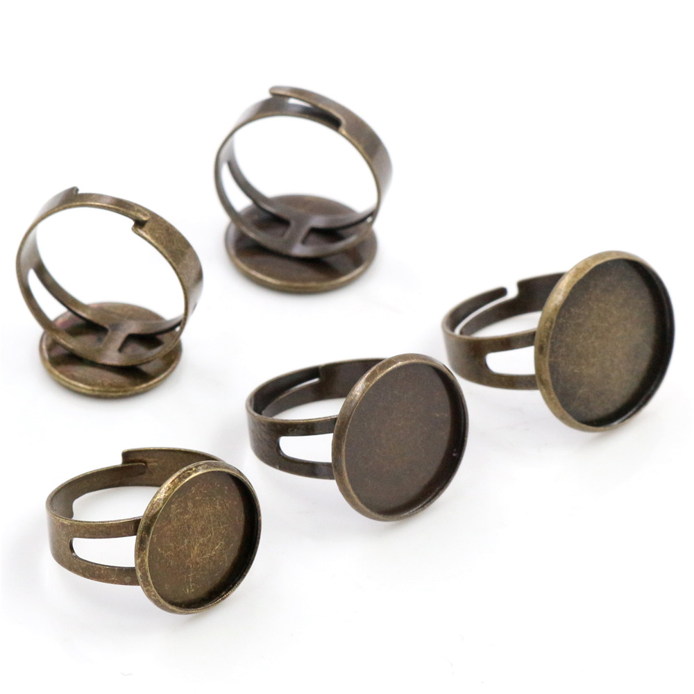 14mm-16mm-18mm 10pcs Antique Bronze Plated Brass Adjustable Ring Settings Blank,Fit 14mm 16mm 18mm Glass Cabochons;Ring Bezels