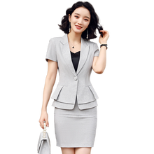 Short Sleeve Two Piece Set Skirt Suit Elegant Ruffle Waist Work Ropa de Mujeres Career Suit Summer Office Clothes For Women