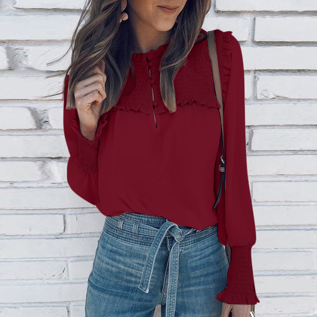 KANCOOLD Blouse Shirt Womens Chiffon Casual Button Down Elastic Cuffs Tops Ladies Shirts Work Office New Blouse 2020FEB21