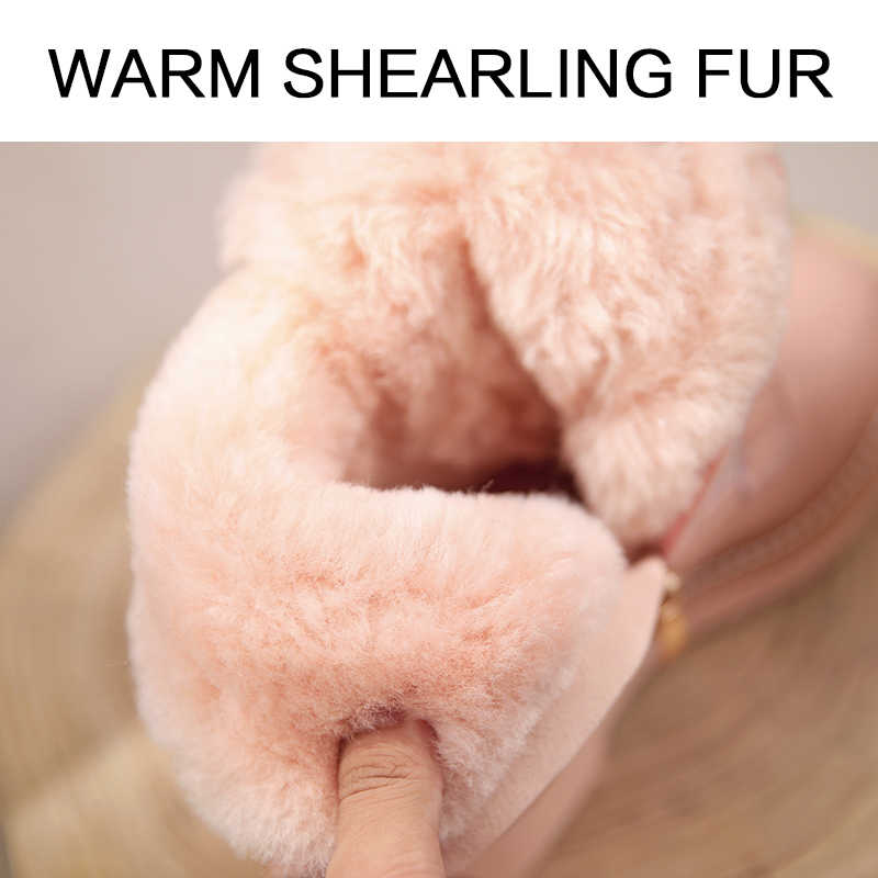 Donna-In Platform Vrouwen Winter Snowboots 2019 Warme Shearling Bont Dames Schoenen Met Hakken Lederen Zip Rubber enkellaarsjes