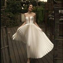 Verngo 빈티지 짧은 웨딩 드레스 간단한 여름 웨딩 드레스 사용자 정의 만든 클래식 화이트 신부 드레스 vestido novia