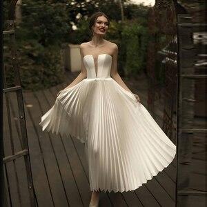 Image 1 - Verngo בציר קצר חתונה שמלת חתונה בקיץ פשוט שמלות תפור לפי מידה קלאסי לבן כלה שמלת Vestido Novia