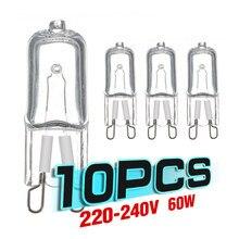 Lâmpada durável do bulbo do halogênio de g9 220v 230v para fornos dos frigoríficos 10 pces 20w 25 40w 60w g9 resistente de alta temperatura da luz do forno
