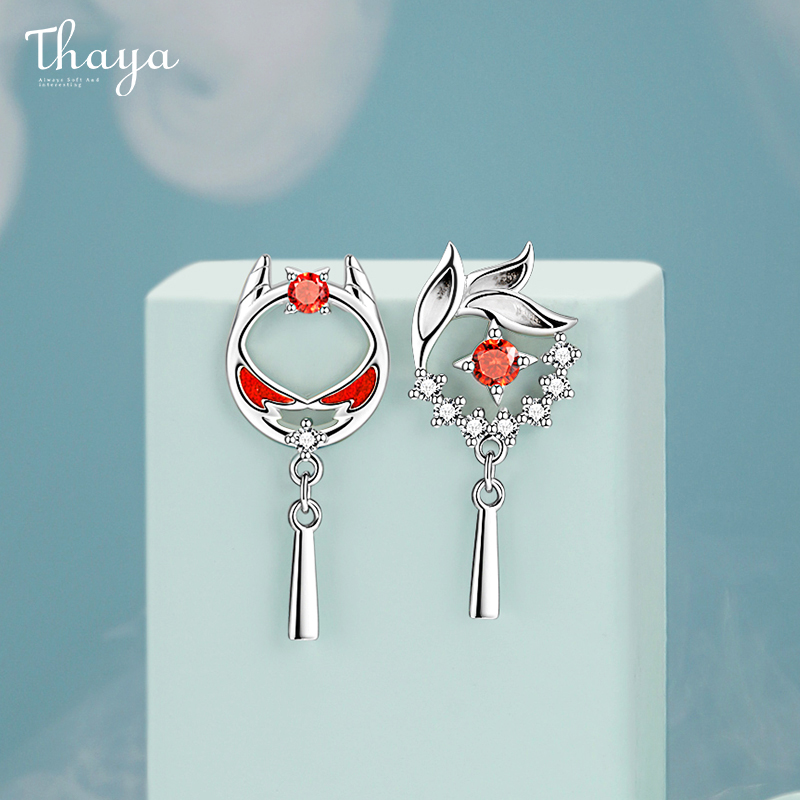 Thaya Authentic S925 Sterling Silver Earring Drop Red Oil Lion Earring Dangle Beast Style For Women Silver Ear Fine Jewelry