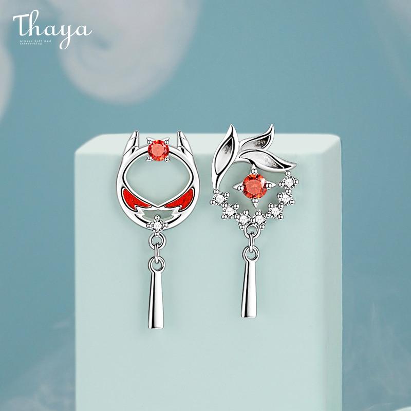 Thaya Authentic S925 Sterling Silver Earring Drop Red Oil Lion Earring Dangle Beast Style For Women Silver Ear Fine Jewelry