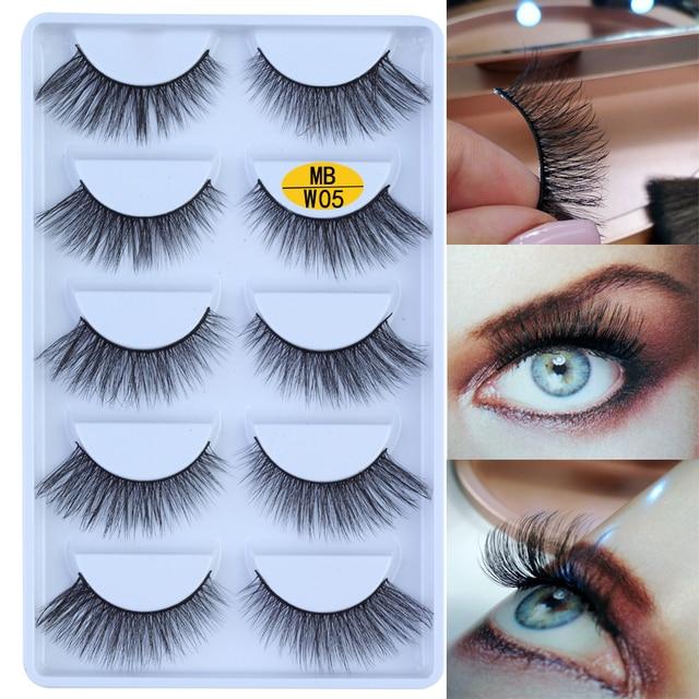 NEW 5 pairs Mink Eyelashes Set 3D 100% False Lashes Makeup Eyelash Extension faux cils Natural fluffy Volume Soft Fake Eye Lashe 2