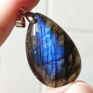 Image 1 - Подвеска из натурального Лабрадорита, синий светильник, Женский драгоценный камень, для женщин и мужчин, водный лунный камень, 33x20x9 мм, Кристальное ожерелье, подвеска AAAAA