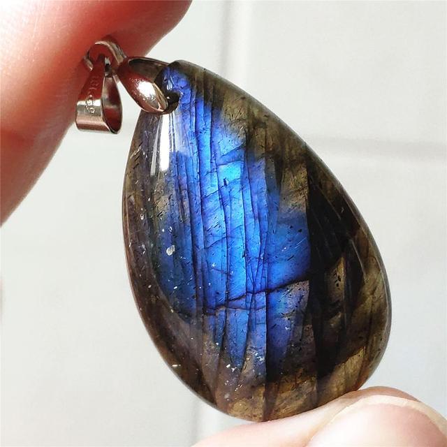Подвеска из натурального Лабрадорита, синий светильник, Женский драгоценный камень, для женщин и мужчин, водный лунный камень, 33x20x9 мм, Кристальное ожерелье, подвеска AAAAA