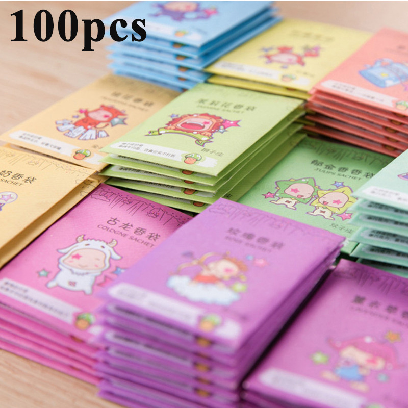 100Pcs Fragrances Natural Hanging Spices Wardrobe Aromatherapy Bag Air Fresheners Fragrant Flavor Bag Cabinet Spice Pockets