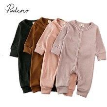 Детская одежда на весну-осень, зимний трикотажный комбинезон для маленьких девочек и мальчиков, комбинезон в рубчик, одежда с длинными рукавами