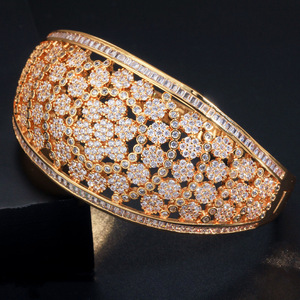 Image 4 - CWWZircons Glitter Indian Gold Color Micro Pave Cubic Zirconia Fancy Flower Large Wide Statement Bridal Wedding Bangles BG037