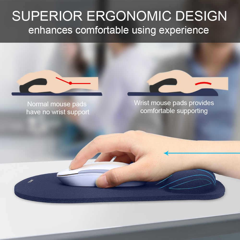 Image 2 - TeckNet Classic Office Mouse Pad Gaming Mouse Mat Pad Ergonomic Mousepad Build in Soft Sponge with Gel Wrist Rest Mice Pad-in Mouse Pads from Computer & Office