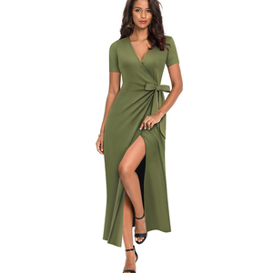 Image 3 - 素敵な永遠の因果無地セクシーなスプリット vestidos 半袖パーティー女性のドレス A155
