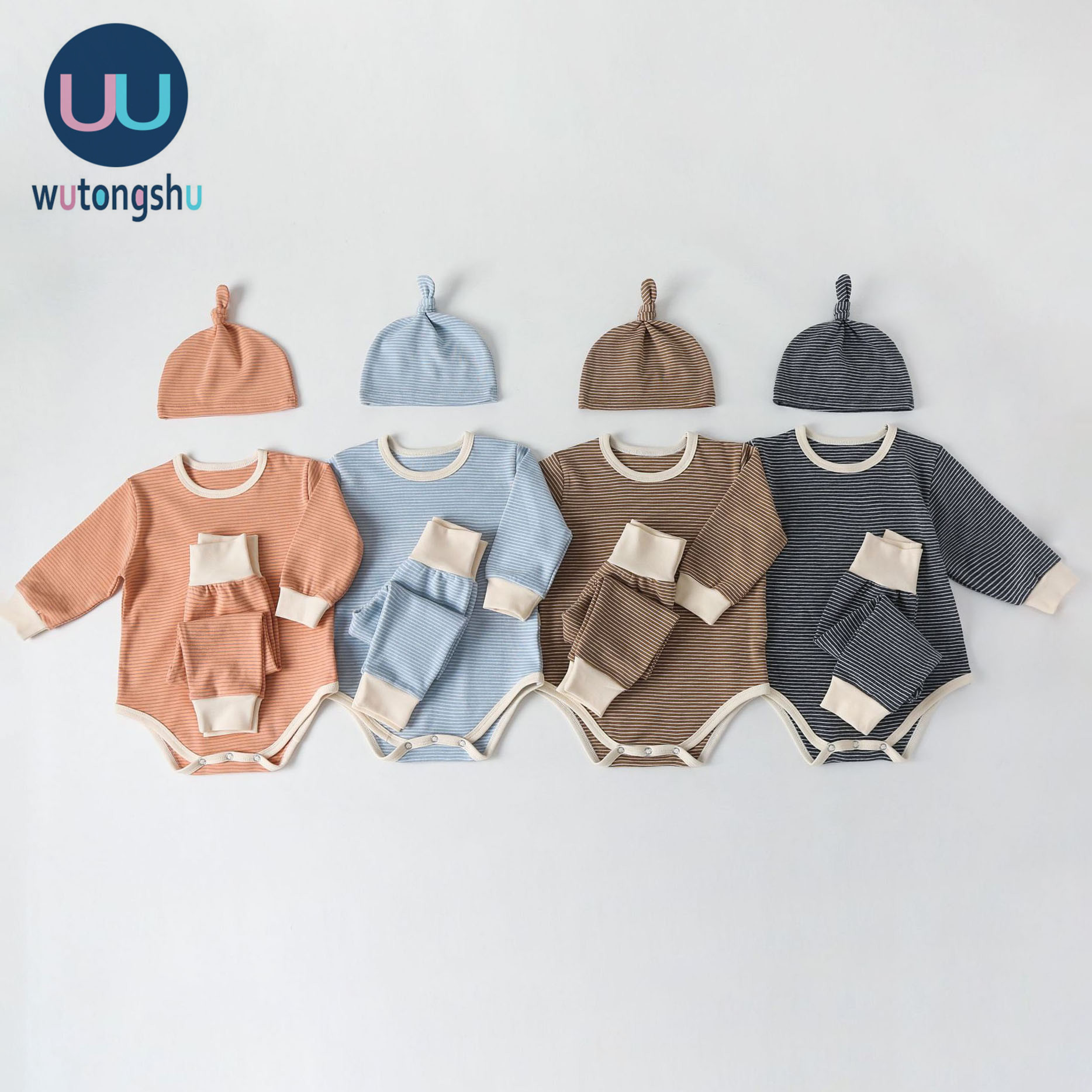 2PCS Newborn Baby Girl Boy Cute Romper Bodysuit Jumpsuit Hat Outfits Set Clothes