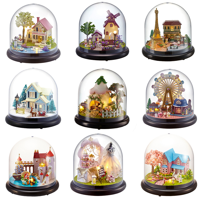 Doll Houses Casa Miniature DIY Dollhouse With Furnitures Transparent Cover Wooden Mini House Toys For Children Christmas Gift