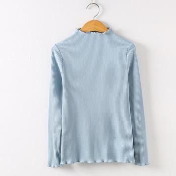 2019 Long Sleeve Shirt Mesh Top Poleras De Mujer Moda Women Shirt Women Cotton T-shirt Women Tops Casual Tee T Shirt 6268 50 - Light Blue, S